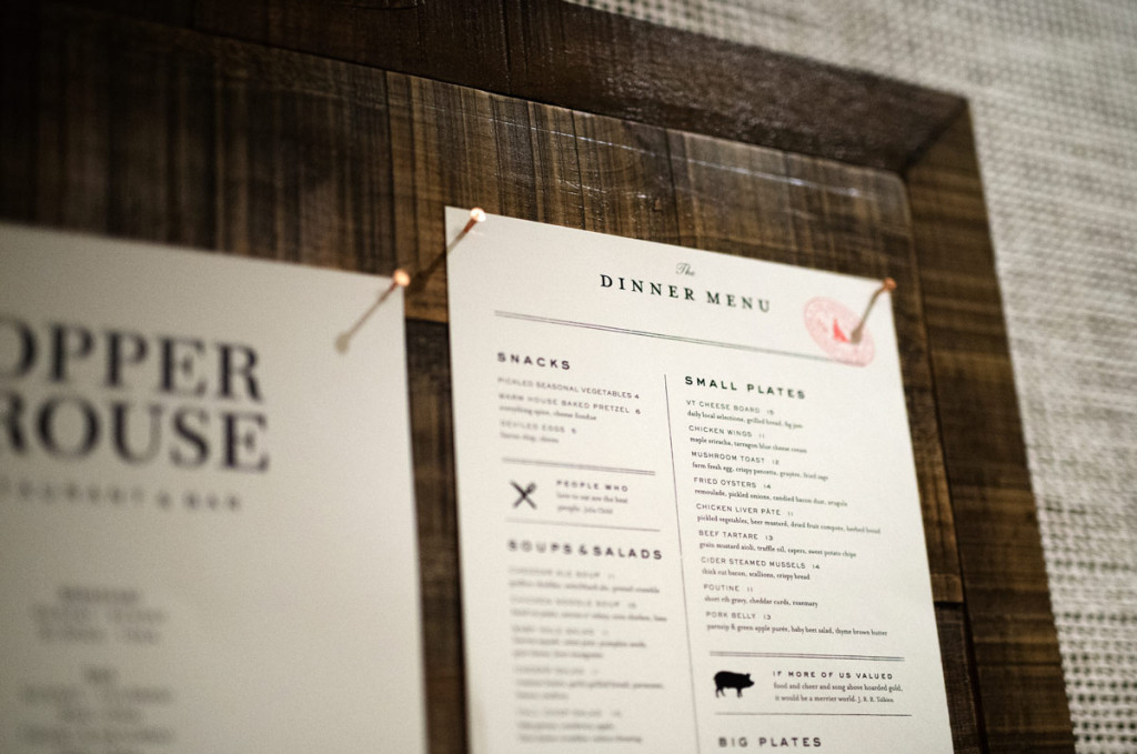 The Copper Grouse. Menu Design by Joe Flory.